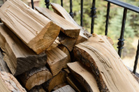 Stacked Wood on Home Balcony