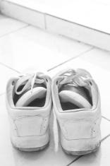 white sneakers, monochrome