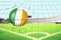Ball with the Ireland Flag hitting a goal