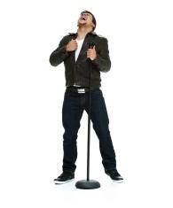 Man singing song and shouting