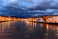 Embankment of the River Arno in Pisa, Italy