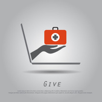hand hold medical bag   from laptop vector icon