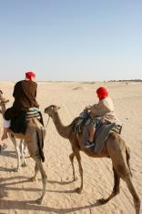 Beduin family in Sahara desert