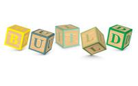 Word BUILD written with alphabet blocks