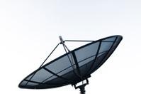 Black satellite on white background