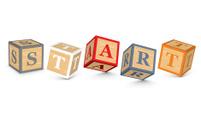 Word START written with alphabet blocks