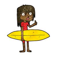 cartoon surfer girl