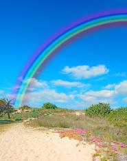 rainbow and sand