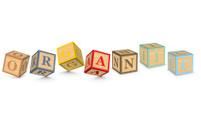Word ORGANIC written with alphabet blocks
