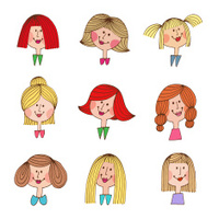Vintage cartoon girls with various hair styles