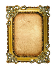 old antique gold frame with old paper over white background