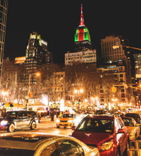 Empire state building illuminated on night