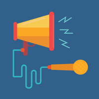 megaphone and microphone,Digital marketing concept,vector,illust