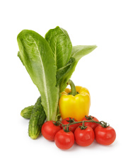 organic vegetables for pepper, tomato and romaine salad