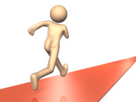 He ran toward the business destination.