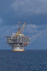 Offshore Spar Production platform. (oil rig).