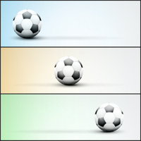 Set of light sports banner for a website to soccer