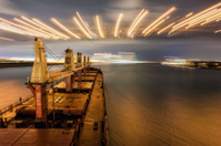 Ship Sailing Detroit Canal in Usa - Passing under bridge