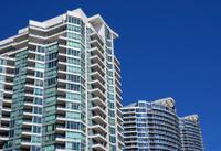 Modern condominium apartment buildings
