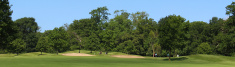 Wide panorama image of golf course, bunkers, trees, blue sky