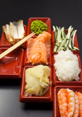 Ingredients for sushi: sliced salmon cucumber rice wasabi and gi