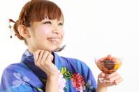 woman having Japanese traditional dessert
