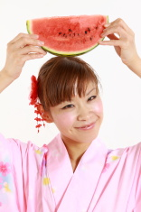 Young woman with watermelon