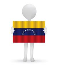 3d man holding a Venezuelan Flag