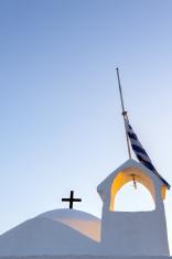 Greek church under blue sky