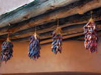 Southwest Adobe with  Drying Ristras (long strings of chilies)