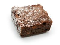 chocolate brownie against white