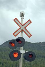 Railroad Crossing Stop Sign
