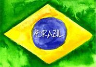 Handmade watercolor Brazil flag background. Brasil summer.