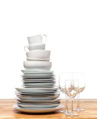 Kitchen crockery and wine glasses