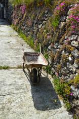 wheelbarrow in a street
