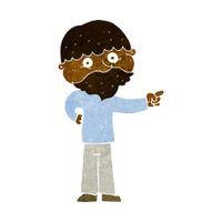 cartoon bearded man pointing