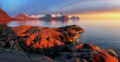 Ocean mountain panorama sunset - Norway