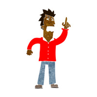 cartoon angry man making point