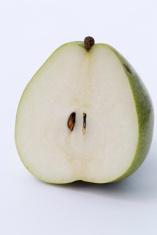 Fresh green pear the cut closeup macro