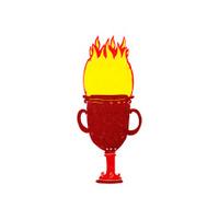 cartoon flaming trophy