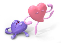 In love heart broken Japanese kawaii style characters 3D illustr