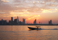 Fisherman way back home during sunset