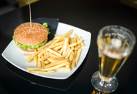 hamburger with french fries chips