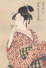 Japanese woodblock print of young woman 1790
