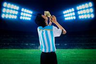 Soccer player celebrate winning