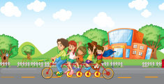 Family travelling with a family bike