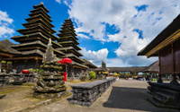 People Praying at Besakih Temple on Bali in Indonesia