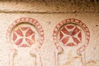 The red crosses in Cappadocia mountain christian church