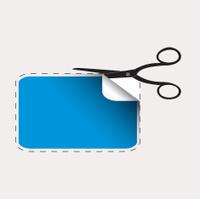 Scissors cutting blue sticker