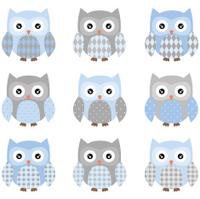 Cute Owl pattern set - Illustration
